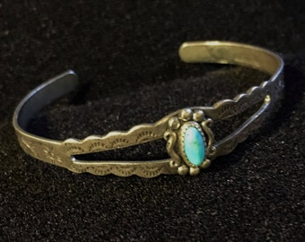 Vintage Sterling Silver and Turquoise Bracelet Native American Navajo Jewelry