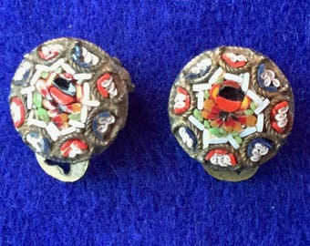 Victorian Florentine Micro Mosaic Clip On Earrings