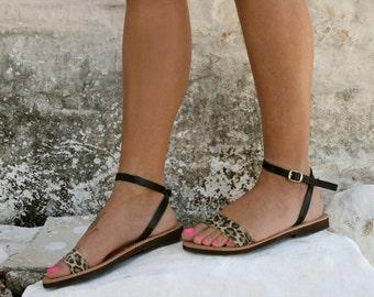 Animal print-Greek Leather Sandal - Aristomache