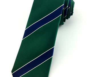 Green with White and Navy Blue Stripped pattern tie 6.5 cm Skinny tie. Slim Tie. Narrow Thin Tie. Skinny Tie. Striped ties. Skinny tie