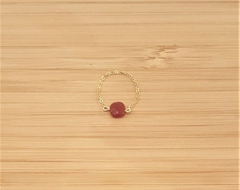 Ring Agate red gold plate chain