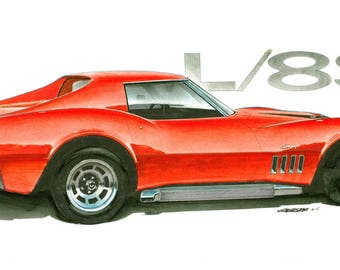 1969 Corvette L89 12x24 inch Art Print by Jim Gerdom
