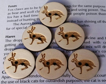 Six Wooden Hare Buttons