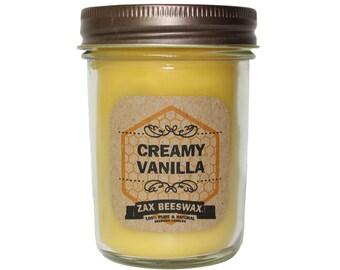 Creamy Vanilla Scented Beeswax Mason Jar Candle  | 8 oz