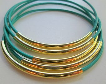 Turquoise Leather Bracelets for Women, Gold and Teal Leather Bangles, Aqua Blue Thin Leather Stacking Bracelet Set, Gold Tube Bracelets