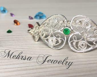 Silver filigree bracelet with Citrine stone