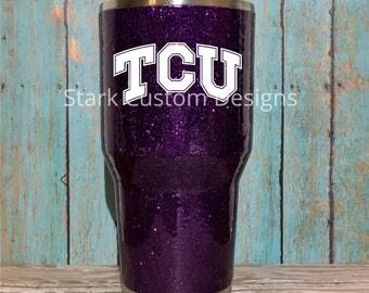 Texas Christian University TCU Horned Frogs Inspired Glitter Tumbler - Yeti, Rtic, or Ozark - 30 oz. or 20 oz. (sealed decal)
