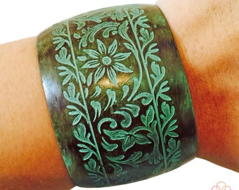 Fitbit Bracelet for Fitbit Flex or Flex 2 Fitness Activity Trackers -The KIDA Flower Engraved Green Patina Metal Cuff Fitbit Bracelet