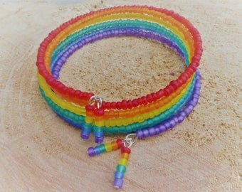 NEW 2017 Frosted Glass Rainbow Memory Bracelet LGBT