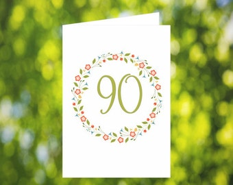 90th Birthday Card Download: Flower Wreath Birthday Card - Olive Green - Digital Download - Downloadable Card - Birthday Card for Her