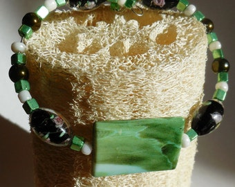 Fun Green and Black Memory Wire Bracelet