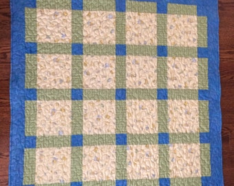Baby Quilt, baby boy quilt, baby girl quilt, yellow quilt, blue quilt, minky