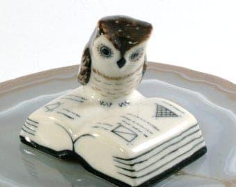 Owl on the book- handpainted porcelain figurine 3100