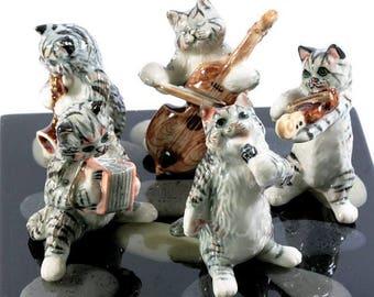 Cats make music, porcelain miniatures,4706