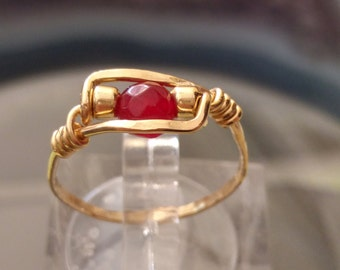 Gold Ruby Ring, Handmade Hammered Ring - Choose US Size 4-10