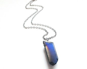 Quartz Necklace // Crystal Necklace // Quartz Jewelry // Blue Crystal Necklace