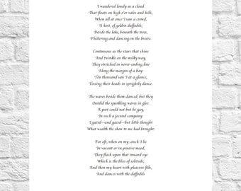 William Wordsworth - Daffodils - Inspiring Poem - Art Print - A4 Size