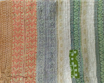 SUPER SALE!! USD 50 off!! Reversible vintage kantha quilt from India / throw/ blanket/ accent quilt / sari quilt/ sari throw/ Ready to Ship