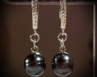 Black Cultured Tahitian Pearl Dangle Earrings with Sterling Silver Diamond Cut Lever Back Earring Wires
