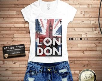 Women's London T-shirt UK Flag Big Ben Ladies Tank Top Stylish Trendy Tee Shirt WD238