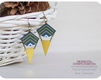 geometric earrings golden brass and polymer clay. Unique boho & gypsy style.