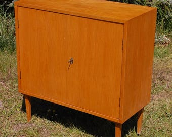 Chest of drawers, Shoe cabinet of the 60s, with flat elegant vintage drawers