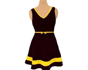 Black + Yellow Skater Dress
