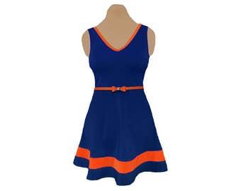 Navy + Orange Skater Dress