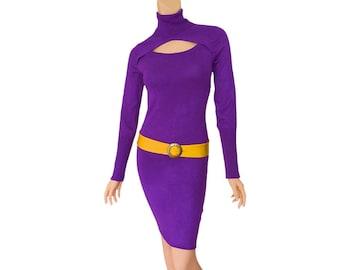 Purple + Bright Gold Sweater Dress