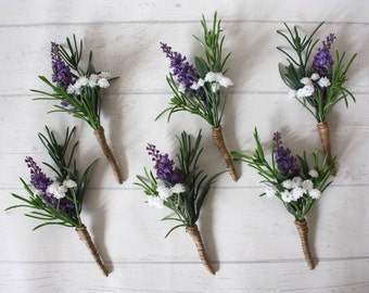 Artificial Rustic Lavender,Rosemary, Gypsophila Buttonhole / corsage. Boutonniere. with twine. Wedding flowers.