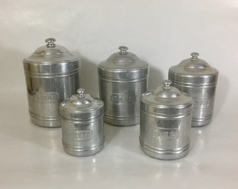 Set of 5 French aluminium kitchen storage tins / containers / cannisters with embossed French names. French kitchen decor. Vintage storage.