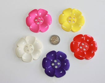 Huge flower button, 65 mm flower buttons chunky 4 hole decorative flowers 5 assorted color flower,pink yellow cream purple red flowers