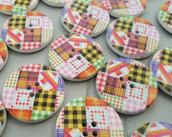20 Wooden Patchwork Buttons 30mm