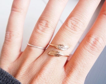Ring feathers, leaves - adjustable - plated leaves gold 750/000 - Gold plated ring