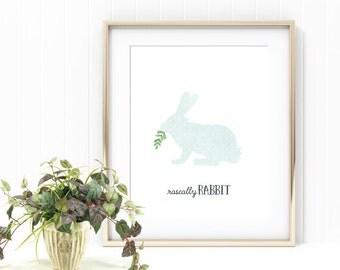 Rascally Rabbit, Nursery Decor, Aqua Bunny Print, Boy Nursery, Boy Bedroom, Baby Nursery, Nursery Art, Digital Print, Rabbit Art, Blue Bunny
