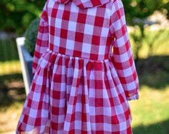 Leighton Peter Pan Collar Long Sleeve Dress - Red Gingham