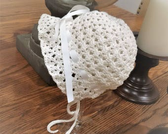 Vintage Handmade Crochet Babies Cap / Bonnet / Hat, Cotton thread with ribbons. Made to Order - Any Size or colour
