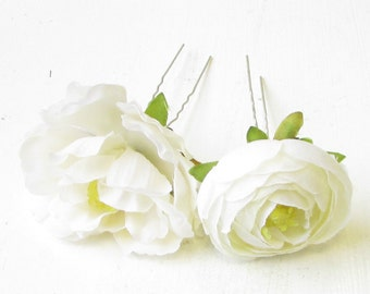 3x Ivory White Rose Ranunculus Flower Hair Pins Bridal Bridesmaid Clip Vtg 1261