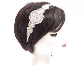Silver Ivory Pearl Bridal Headband Wedding Headpiece Diamante Hair Band Vtg 2907