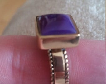 Vintage Purple Agate Solid Bronze Ring Size 6