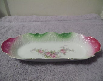 Flowered Pink and Green Celery Dish