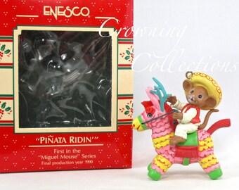 Enesco Pinata Ridin' Miguel Mouse Ornament Piñata Feliz Navidad Treasury of Christmas Mice Riding Vintage 1st in Series