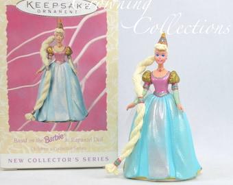 1997 Hallmark Barbie as Rapunzel Keepsake Ornament Spring Fairytale Children's Collector Series 1st #1 Vintage Doll Princess First