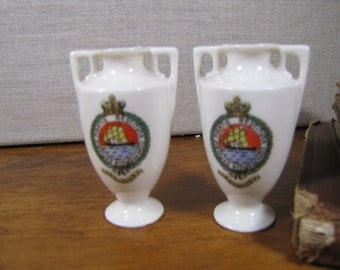 Small Souvenir Vases from Bahamas - Made in Czechoslovakia - Set of Two (2)