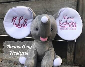 Cubbies Birth Announcement Elephant,Monogrammed elephant,Monogrammed birth announcement,Cubbies Elephant,Cubby's Elephant,Stuffed Elephant