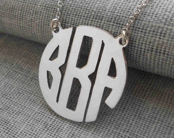 Personalized Monogram Initials Necklace1 inch,Monogram Block Necklace,Three Letters Nameplate Monogrammed,Name Necklace