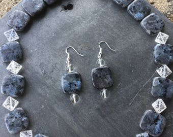 Larkivite and sterling silver hearts