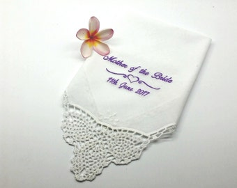 Elegant Mother of the Bride Handkerchief/Hanky for your Mum, White Hanky with Crocheted Lace Corner and Edging..