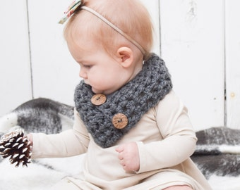 Cowl scarf for Baby Toddler Child Grey Button Scarf