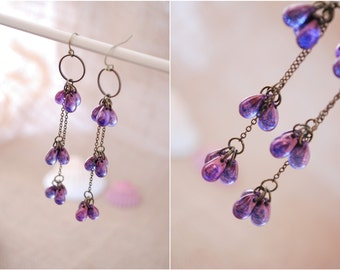 Cascade earrings, long chain brass earrings, purple teardrop earrings, bridsmaid jewelry, bridal earrings